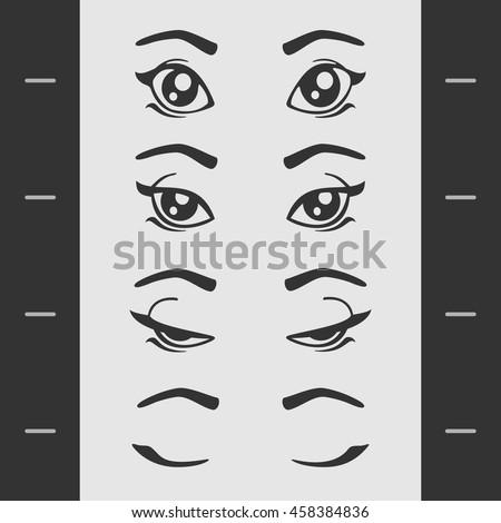 Set of Elements of Female Eye Blink