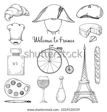 Set Of Elements Of French Culture Welcome To France Vector