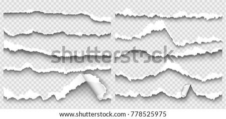 set of elements torn paper on transparent background