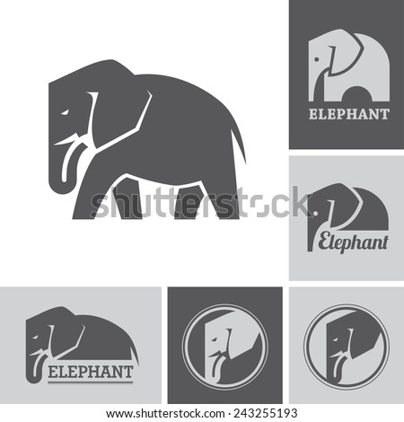 Set of elephant icons and symbols on white and dark backgrounds