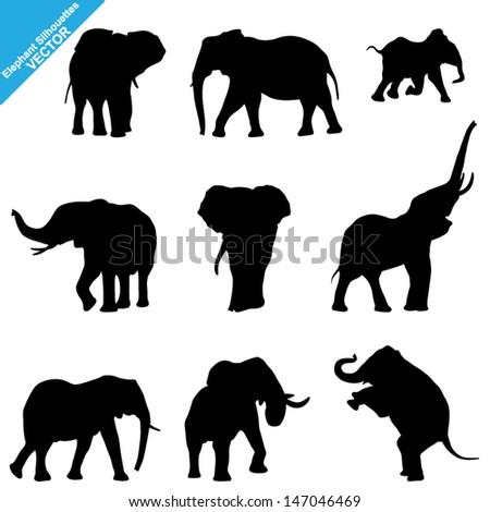 set of elephant silhouettes