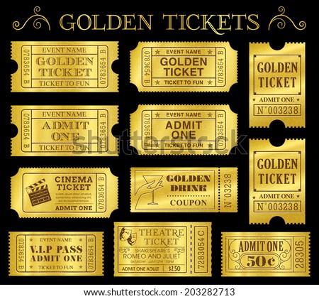 set of eleven golden vector...