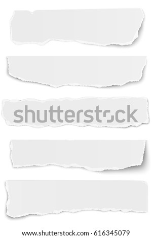 set of elongated tattered paper