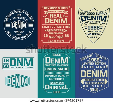 set of emblem  labels denim