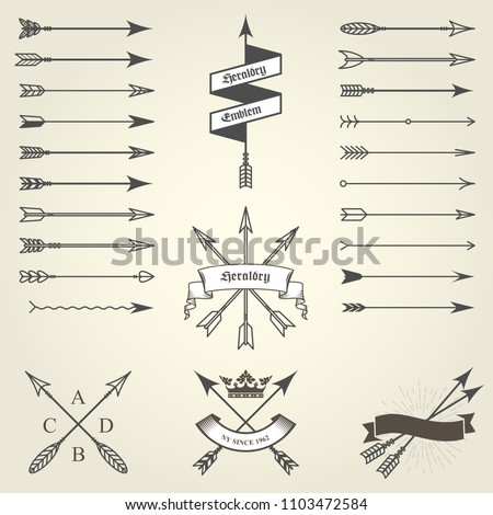 Set of emblems and blazons with arrows, heraldic seals - coat of arms #1103472584