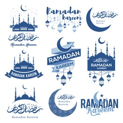 Set of emblems for islamic holy holiday Ramadan. Ramadan Kareem calligraphy. Ramadan traditions. Ramadan greeting. Best badges set for your design. Easy for edit and use.