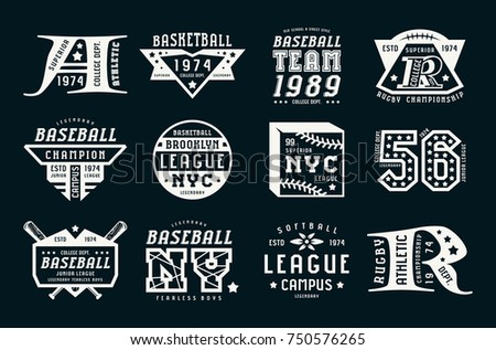 Set of emblems in sport style. Baseball, basketball and rugby themes. Graphic design for t-shirt. White print on black background Stock fotó ©