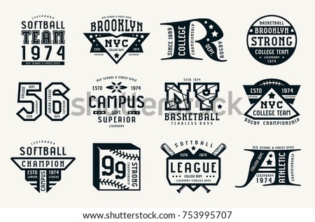 Set of emblems in sport style. Softball, basketball and rugby themes. Graphic design for t-shirt. Black print on white background Stock fotó ©