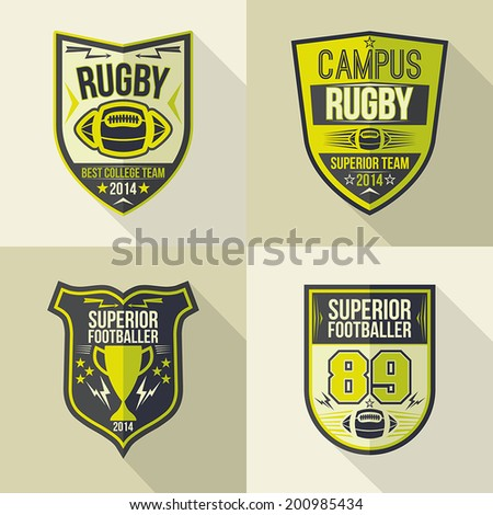 Set of emblems rugby team in flat style