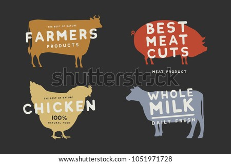 Set of emblems with colored silhouettes of farm animals on dark background. Image on theme of fresh and natural products. Meat and dairy products. Vector logotype design.