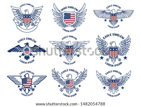 Set of emblems with eagles and usa flags. Design element for poster, emblem, sign, logo, label. Vector illustration