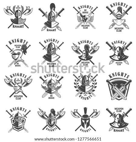 Set of emblems with knights, swords and shields. Design element for logo, label, emblem, sign, poster, t shirt. Vector illustration