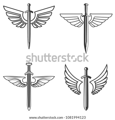 Set of emblems with medieval sword and wings. Design element for logo, label, emblem, sign. Vector illustration