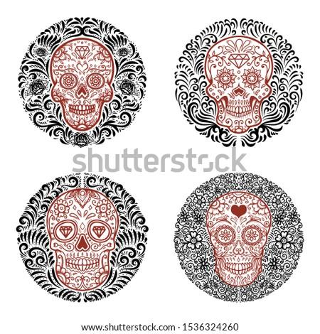 Set of emblems with sugar skulls with floral border. Design element for poster, card, emblem, sign. Vector illustration