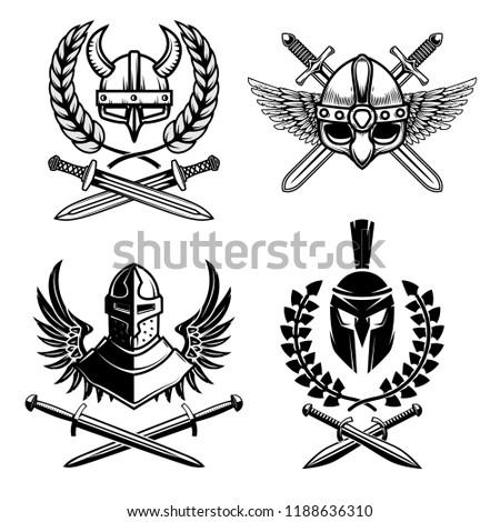 Set of emblems with viking ancient weapon. Design element for logo, label, emblem, sign, poster. Vector illustration