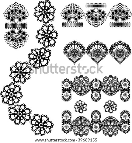 set of embroidered lace design in vector format very easy to edit, individual objects