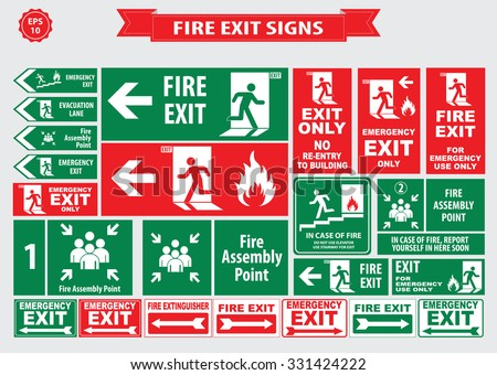 set of emergency exit sign ...