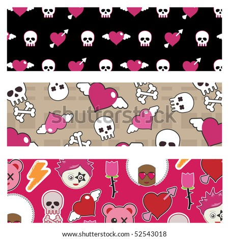 set of emo banners with skulls