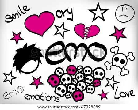 set of emo design elements