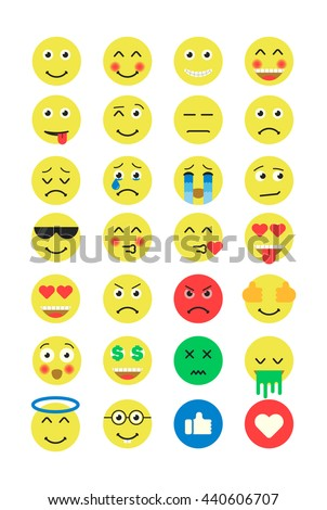 set of emoji emoticons flat set