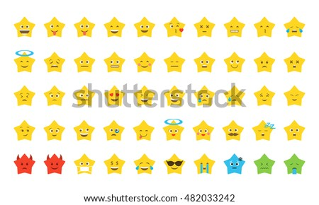 Set of emoji in the form of star for your Chat. Vector illustration