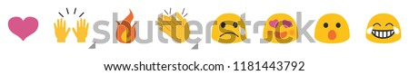 Set of Emoticon for chat comment with Flat Design, social media reactions, vector