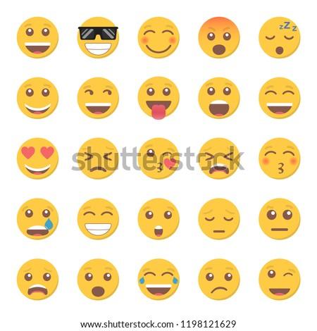 Set of emoticon smile icon in a flat design.
