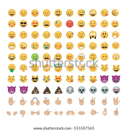 set of emoticon vector isolated
