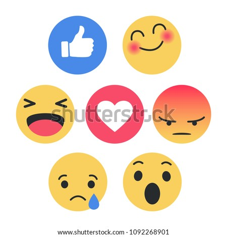 stock-vector-set-of-emoticon-with-flat-design-style-social-media-reactions