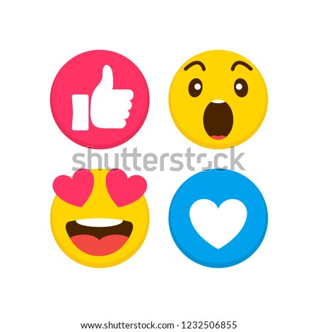 Set of emoticon with flat design, vector illustration.