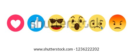 Set of emoticon with flat design, vector illustration.Emoji icons.