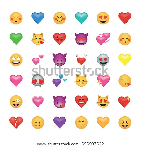 Set of emoticon with hearts isolated on white background.  Emoji vector. Smile icon collection. Emoticon icon web. Love style.