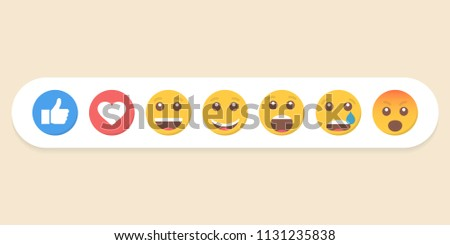 Set of emoticons and like. Vector illustration. - Shutterstock ID 1131235838