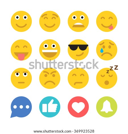 set of emoticons and social