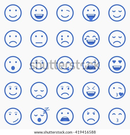 Set of Emoticons, Emoji and Avatar. Outline style illustrations - stock vector.