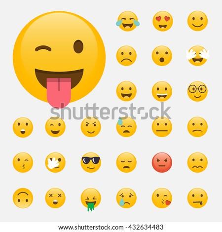 set of emoticons emoji flat
