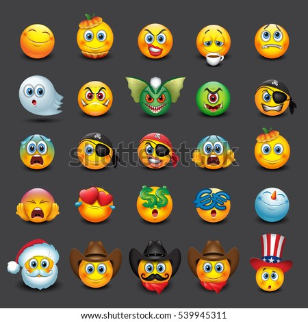 set of 25 emoticons  emoji