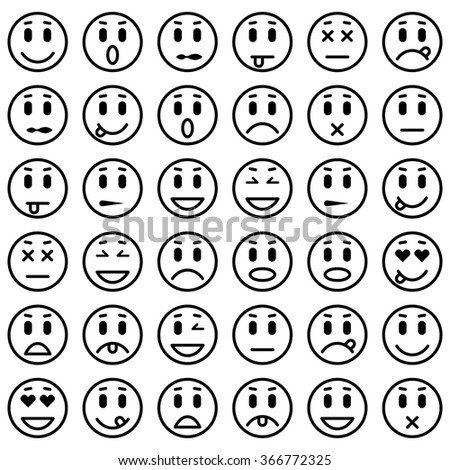 set of emoticons isolated