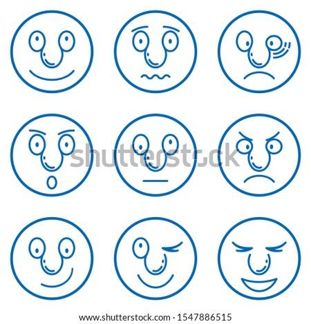 Set of Emoticons. Set of Emoji.