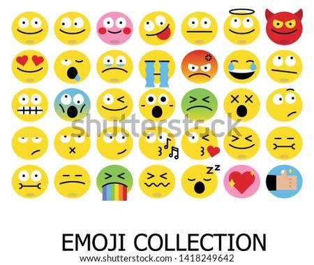 Set of Emoticons. Set of Emoji collection vector