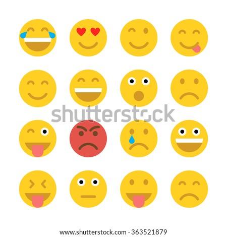 Shutterstock Set of Emoticons. Set of Emoji. Flat style illustrations