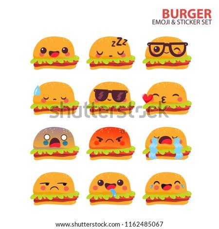 Set of Emoticons. Set of Emoji. Set of emoji burger