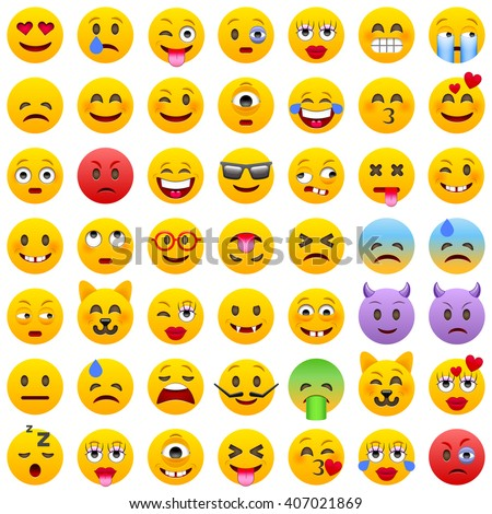 set of emoticons set of emoji