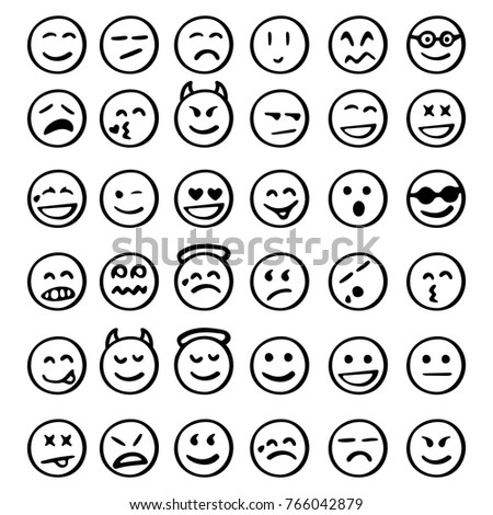 set of emoticons/ set of emoji/ smile icons/ smiley faces/  hand drawn vector illustration isolated on white background