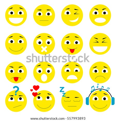 Set of Emoticons. Smiley icons pack. Isolated vector illustration