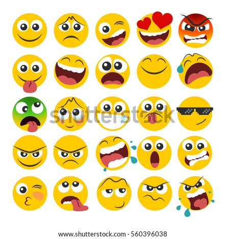 Set of emoticons with different emotions in a flat design - Shutterstock ID 560396038