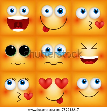 Set of emoticons yellow faces. Emoji characters icons vector illustration.