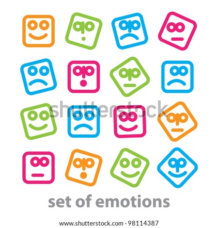 Set of emotions - a collection of signs representing various emotions: joy, sadness, anger, confusion, emotion, etc. vector