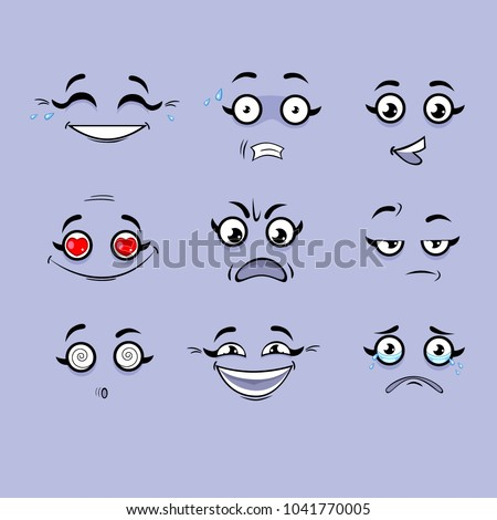 Set of emotions. Funny cartoon faces. #1041770005