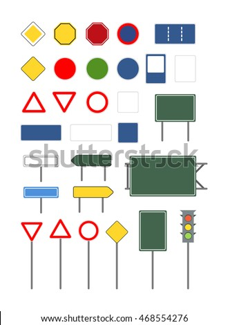 Set of empty blank different road signs isolated on white